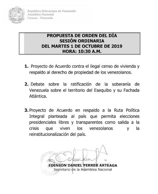 Presentarán en la AN proyecto de acuerdo contra «ilegal censo de vivienda» (Agenda)
