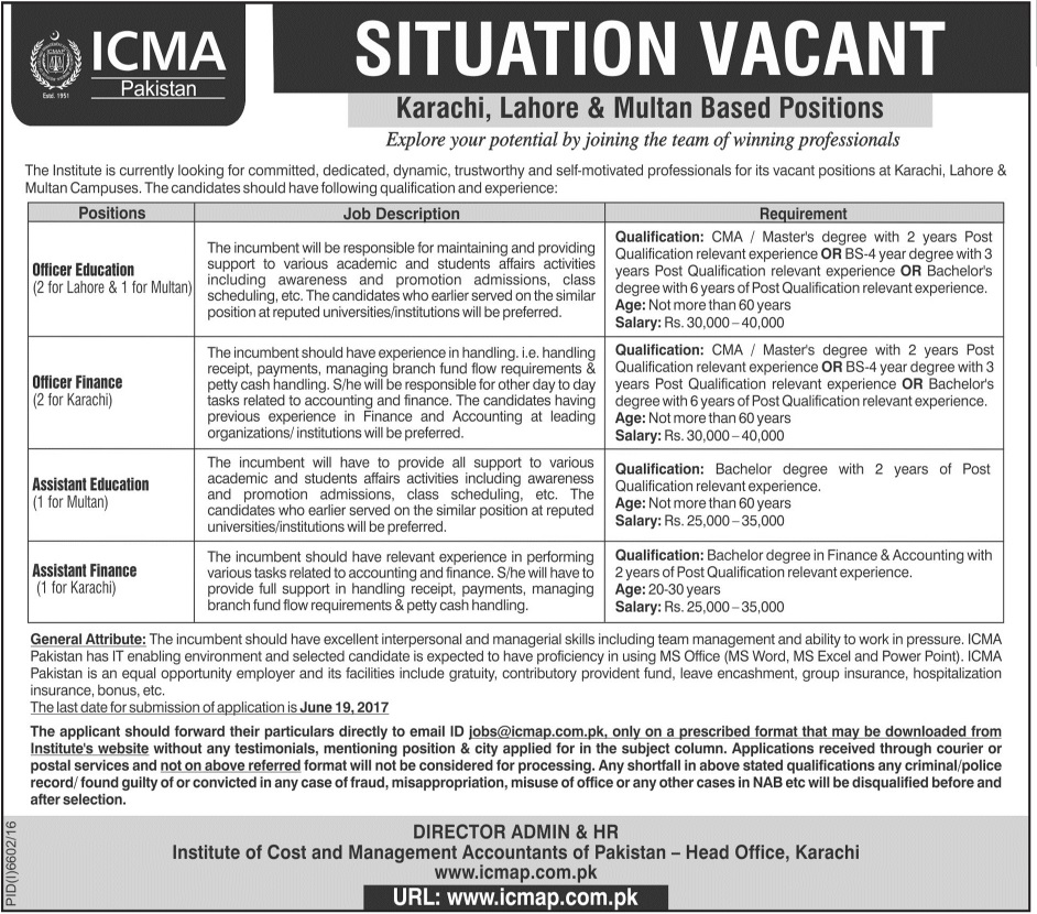 ICMA Pakistan Jobs in Lahore, Karachi and Multan  4 June 2017