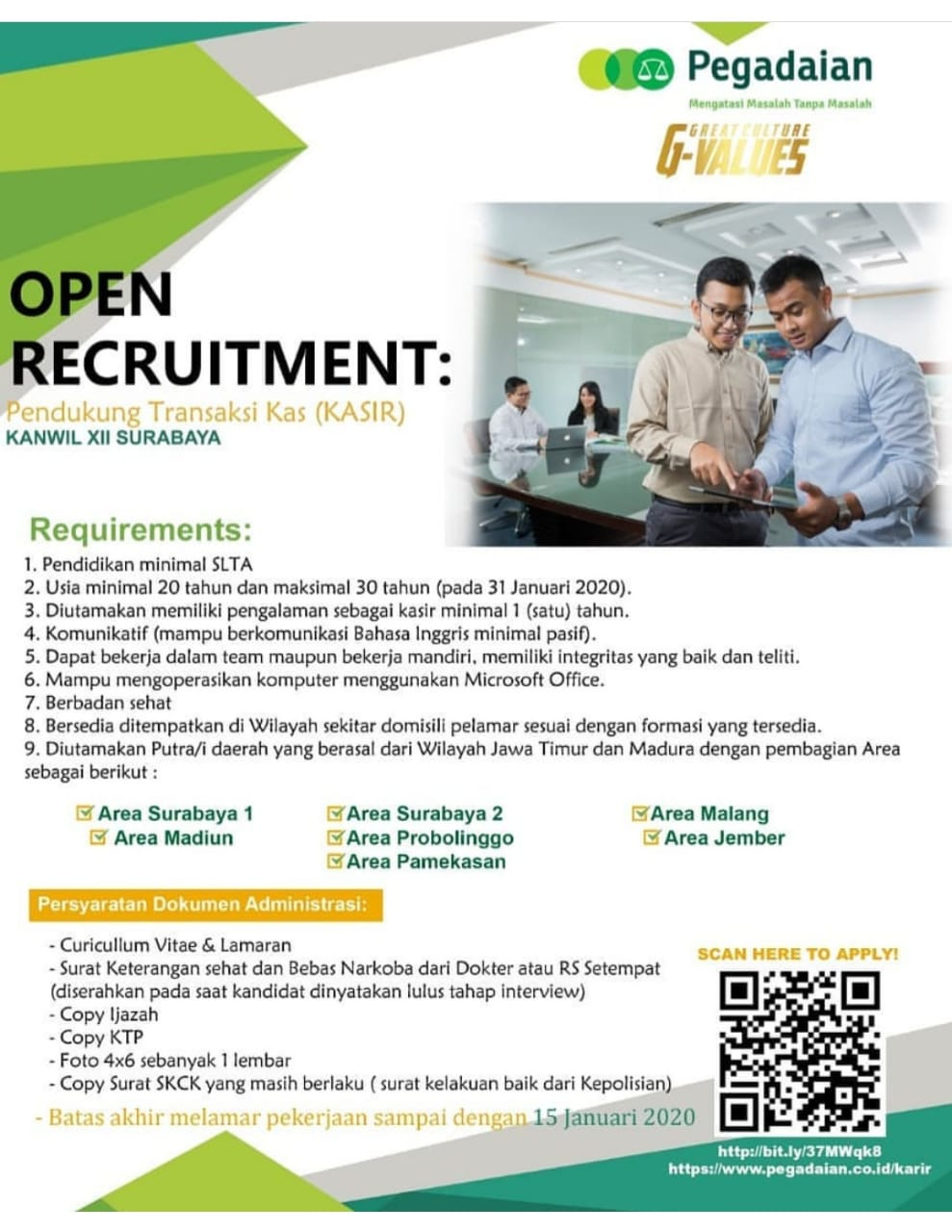 Lowongan Kerja  Pegadaian Terbaru Jawa Timur 2020
