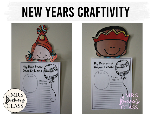 New Years resolutions writing and craftivity for K-3. Makes a fun bulletin board display in the classroom! Have students share their hopes and goals for the new year. #newyear #newyeargoals #kindergarten #1stgrade #2ndgrade #bulletinboard #bulletinboardideas