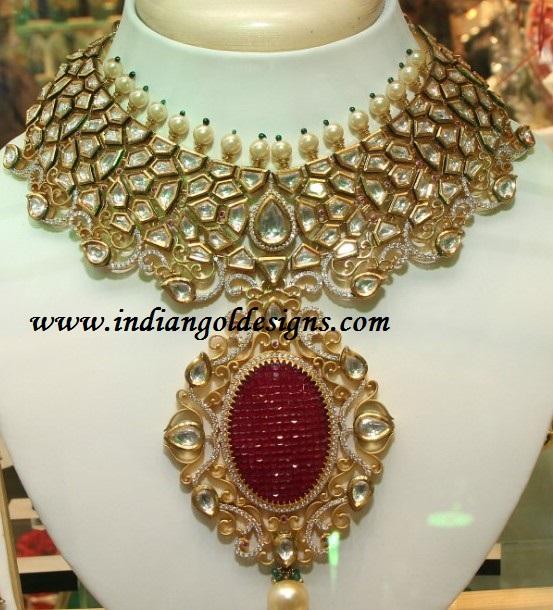 Gold and Diamond jewellery designs kundan jewellery