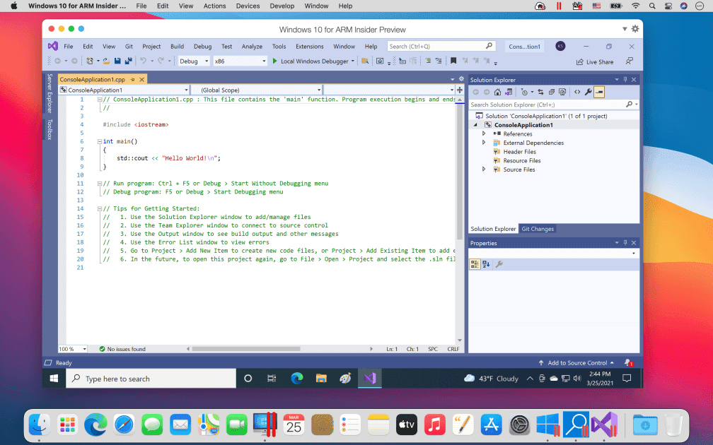Microsoft Visual Studio running in Parallels Desktop