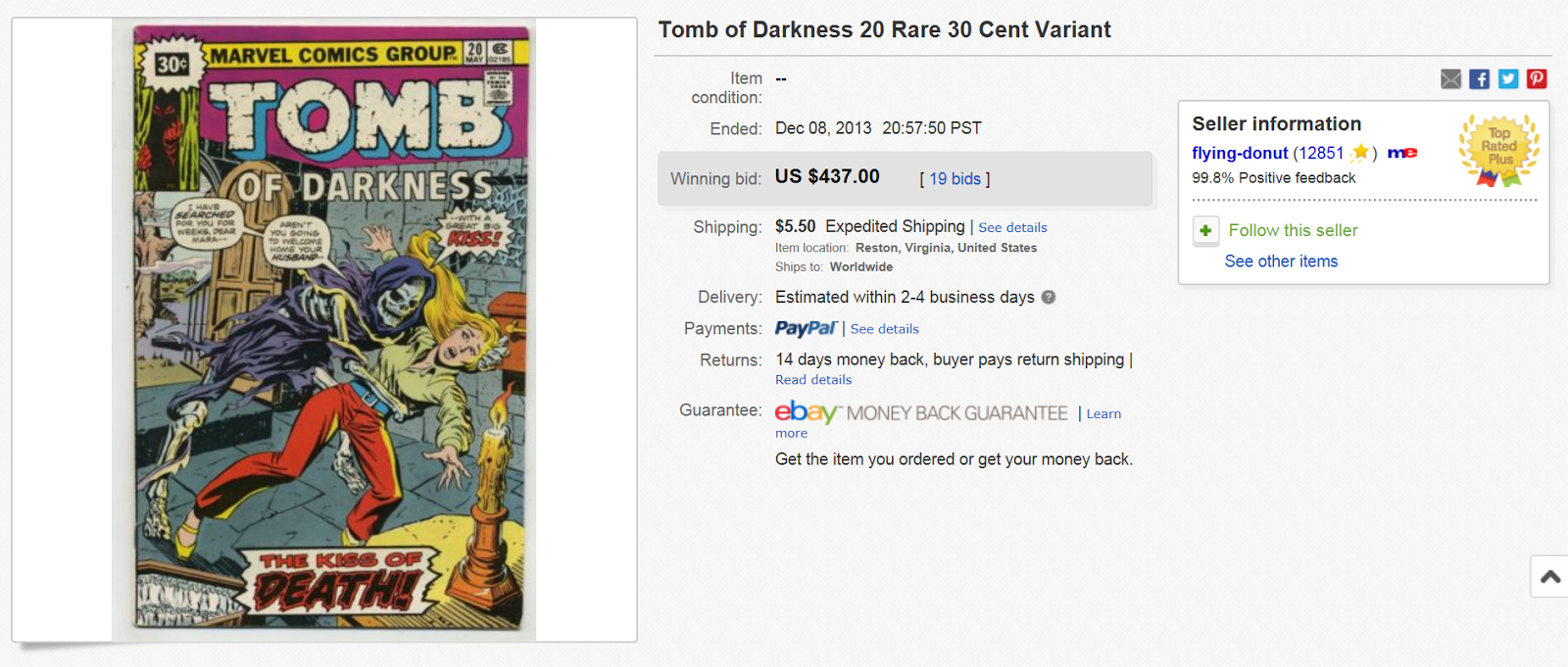 Bronze Age Marvel Variants Nice Tomb Of Darkness 20 Price Variant Brings Shocking Result Shatters High Price Record