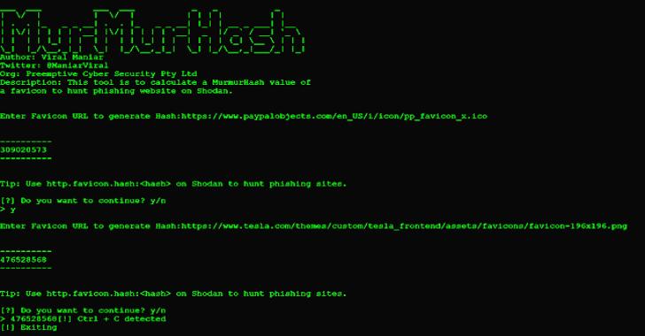 MurMurHash : Tool To Calculate A MurmurHash Value Of A Favicon To Hunt Phishing Websites On The Shodan Platform