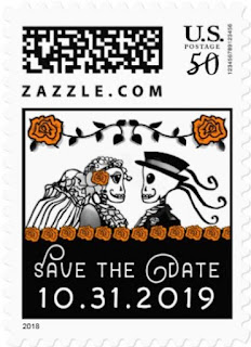 Halloween Wedding Skeletons Custom Postage Save the Date Orange Roses Horizontal Small Postage