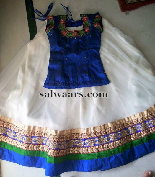 White Net Lehenga Blue Blouse