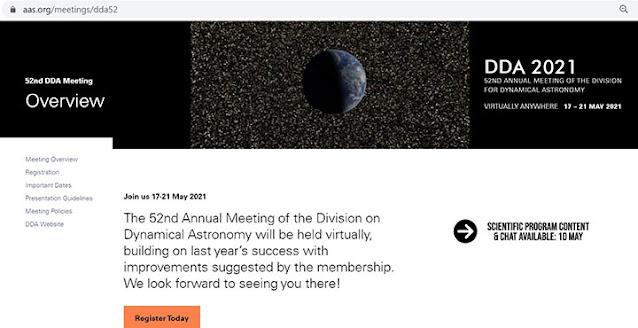 Upcoming DDA 52nd meeting will be held online (Source: https://aas.org/meetings/dda52)