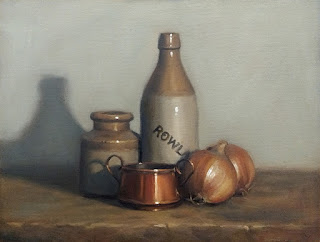 Still life oil painting of a copper pot beside two brown onions, an earthenware bottle and an earthenware jar.