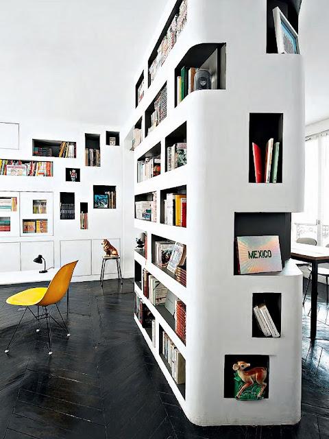 Modern library built in book shelf herringbone stained wood floor