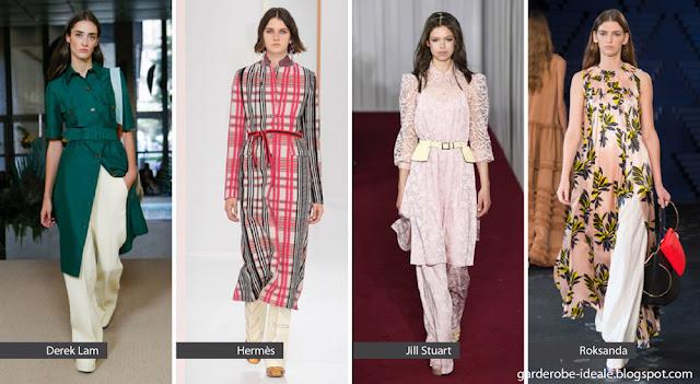 Платья с широкими брюками на подиуме весна-лето 2018