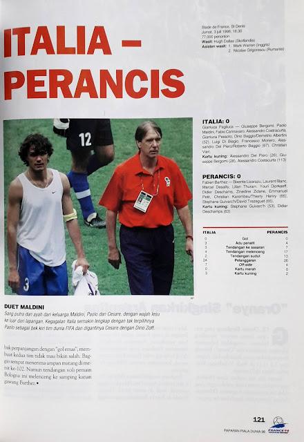 PIALA DUNIA 1998: STATISTIK PERTANDINGAN ITALIA VS PERANCIS (0-0) PENALTI (3-4)
