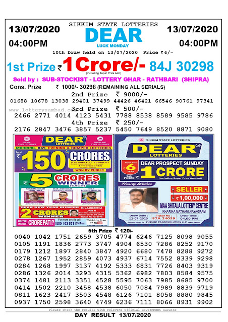 Sikkim State Lottery Sambad 13-07-2020 Today Result 4 PM