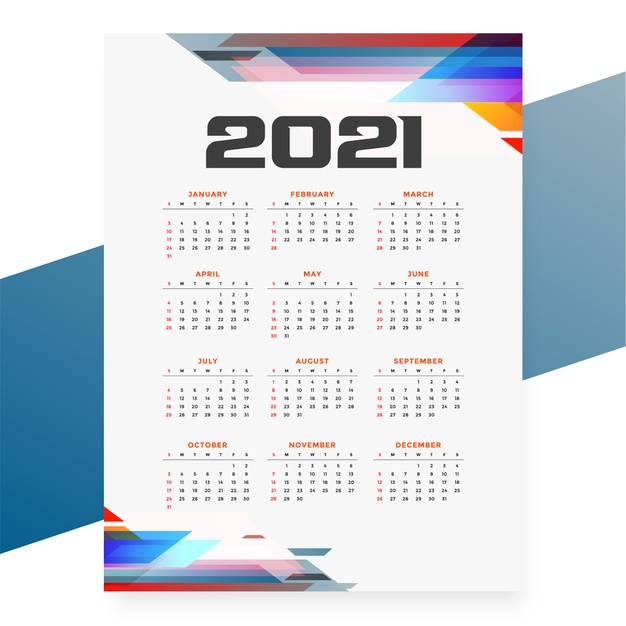 Calendario 2021 abstracto de colores en Vector