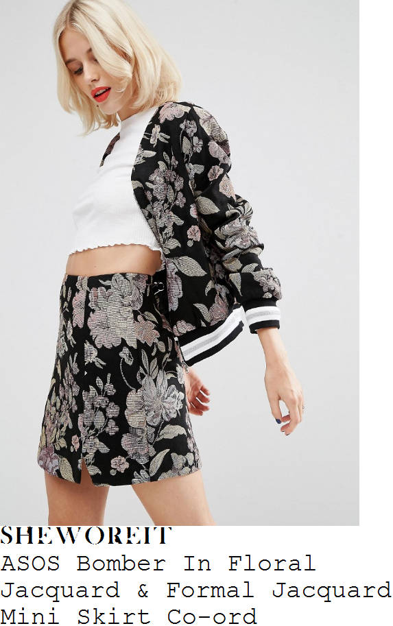 ashley-james-asos-black-white-grey-and-multicoloured-vintage-floral-tapestry-jacquard-long-sleeve-contrast-trim-detail-zip-front-bomber-jacket-and-matching-high-waisted-split-hem-mini-skirt