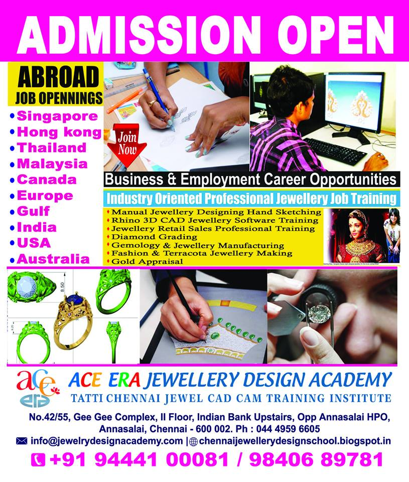 Professional Dlounge Chennai Jewellery Designer Courses Training Education Gjsci Green Jobs Singapore Dubai Jewellery Jobs Thailand Hongkong Australia Canada Malaysia Overseas International Abroad Opportunities Admissions Open