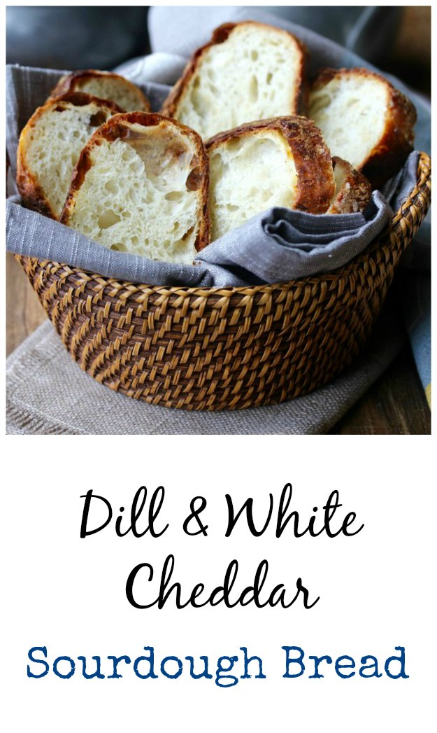 Cheesy Dill and White Cheddar Sourdough Bread #bread #sourdough #cheddar