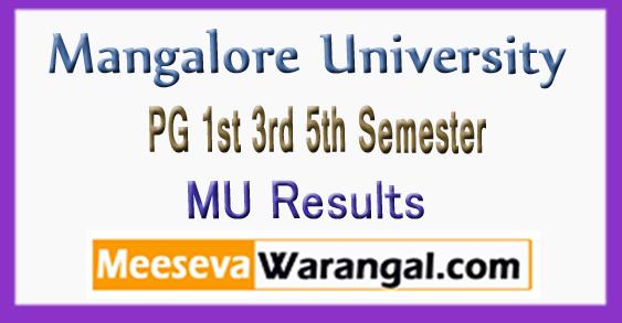 Mangalore University UG PG 1st 3rd 5th Semester Result 2017-18