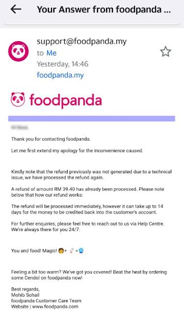 food panda order cancelled