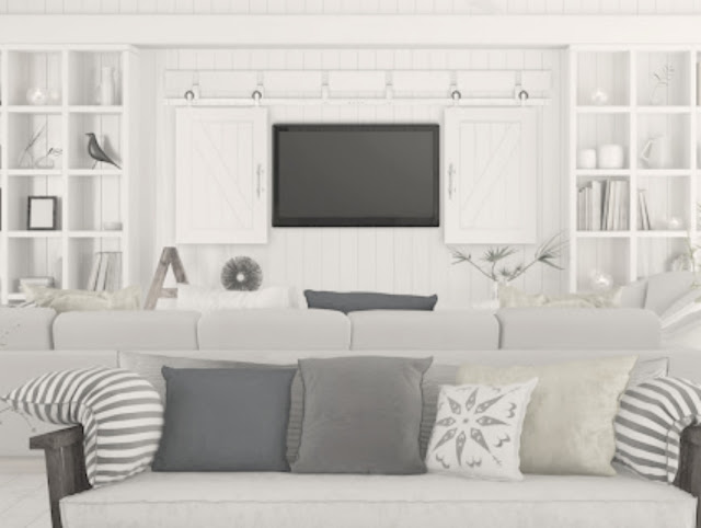Pacific Entries TV Barn Doors in White Cottage Style Living Room With Builtins