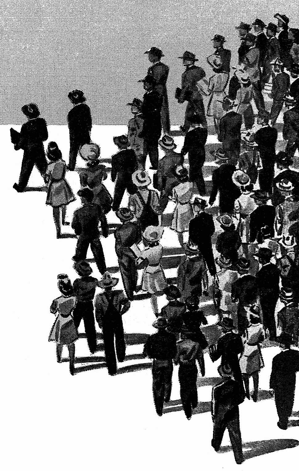 a 1946 illustration of men and women walking as a crowd