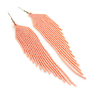 купить летние серьги из бисера ручной работы персиковая бижутерия бохо