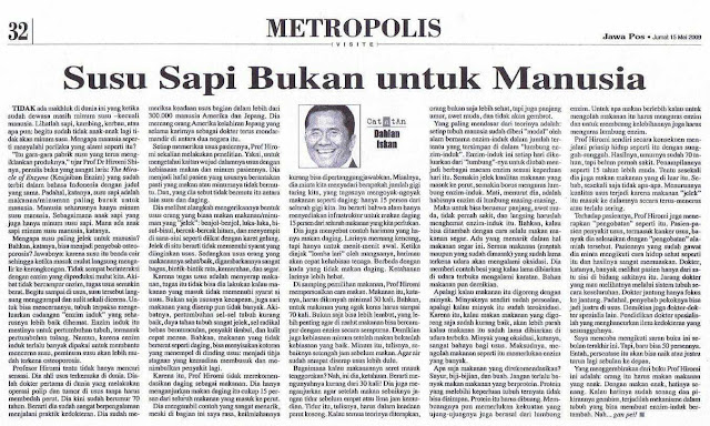 Informasi susu: Pembahasan di koran Jawa Pos