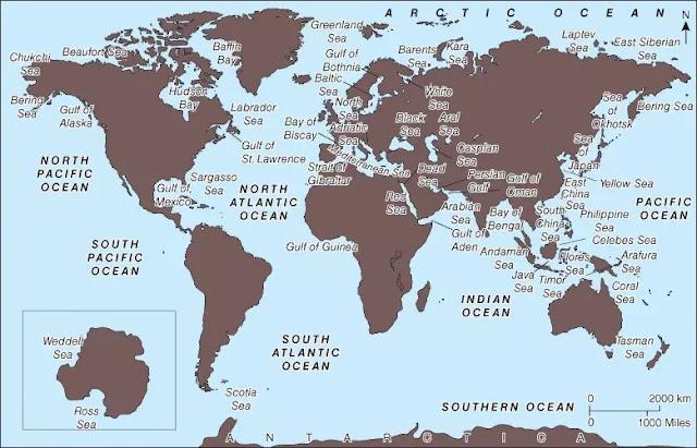 1. Samudra Global.  Lautan adalah cekungan besar yang dipenuhi air laut yang memiliki fitur struktural yang khas (lihat Gambar 2).Tepi setiap cekungan terdiri dari dangkal, landai landai dari benua yang berdekatanmassa dan disebut landas kontinen. Rak kontinental biasanya memanjang hingga ke kedalaman abeberapa ratus meter dan bervariasi dari beberapa kilometer hingga lebarnya ratusan kilometer.