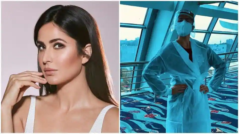 """Bolly Beauty: Katrina Kaif gives a 2020 update to airport look, shares pic in PPE kit and a face shield Outfits great either"""""""