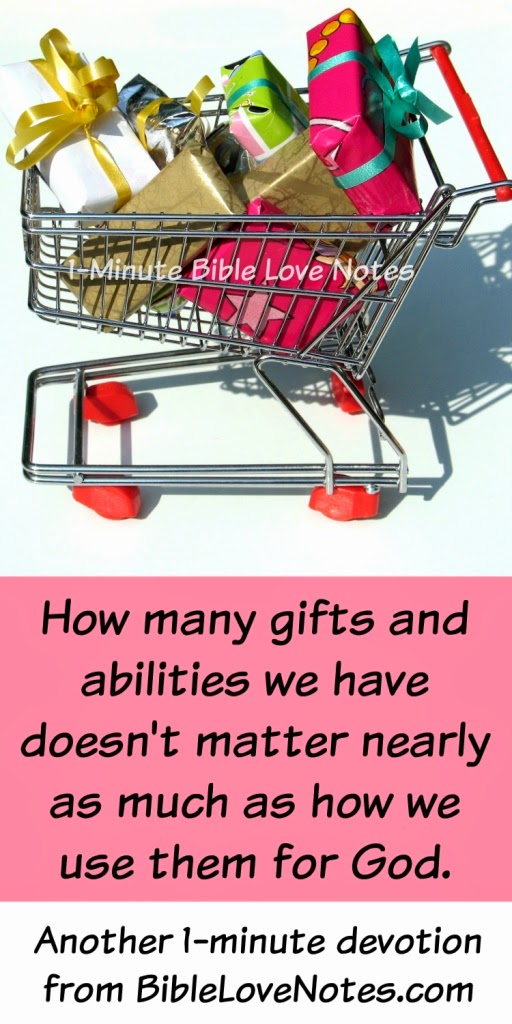 it's how we use our gifts that matters, God gives different gifts, God gifts some people more than others, being faithful with our abilities