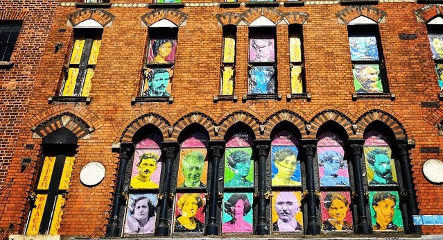 One Day Dublin Itinerary: Irish freedom fighters portrayed in a window in Temple Bar