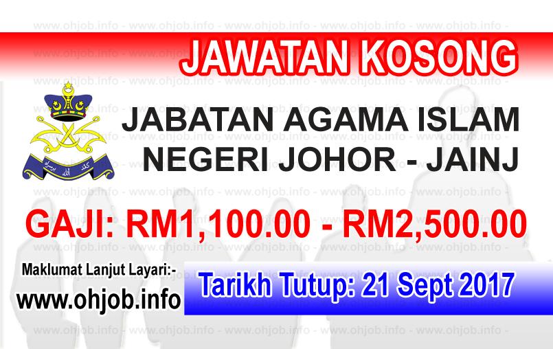 Jawatan Kerja Kosong JAINJ - Jabatan Agama Islam Negeri Johor logo www.ohjob.info september 2017