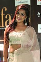 Prajna Actress in bhackless Cream Choli and transparent saree at IIFA Utsavam Awards 2017 022.JPG