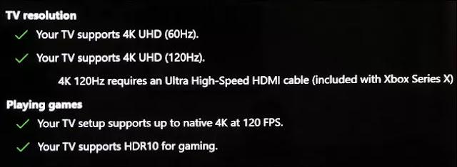 """Las secciones """"Resolución de TV"""" y """"Juegos"""" en el menú """"Pantalla de TV 4K"""" en Xbox."""