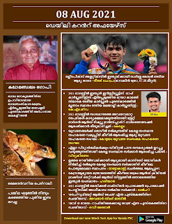 Daily Malayalam Current Affairs 08 Aug 2021