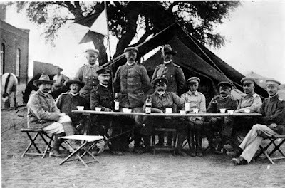 Central figure Lieutenant General Lothar von Trotha, the Oberbefehlshaber (Supreme Commander) of the protection force in German South West Africa, in Keetmanshoop during the Herero uprising, 1904.