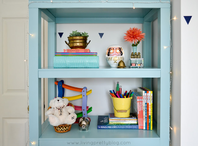 Shelf Styling on Parsons Bookcase - Blue Red Mint Kids Room - Shared Kids Room Reveal - One Room Challenge
