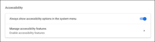 قم بزيارة قائمة إمكانية الوصول على Chromebook