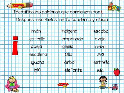 Identifica la vocal inicial de cada palabra.
