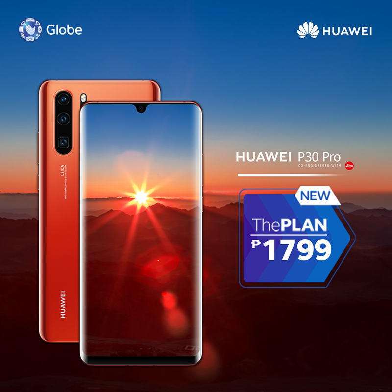 Huawei P30 Pro Amber Sunrise 512GB now available at Globe's ThePLAN 1799!