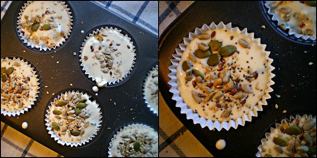 Muffins  de pan integral, queso y tomate: Relleno y semillas