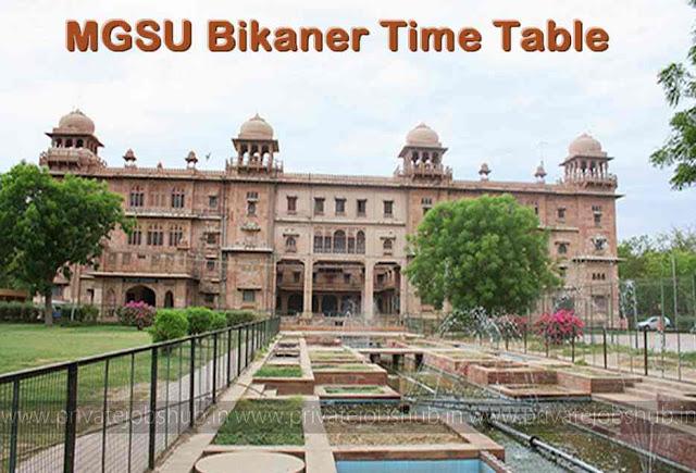 MGSU Bikaner Time Table