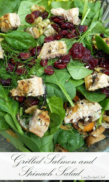 grilled salmon and spinach lunch or dinner salad recipe