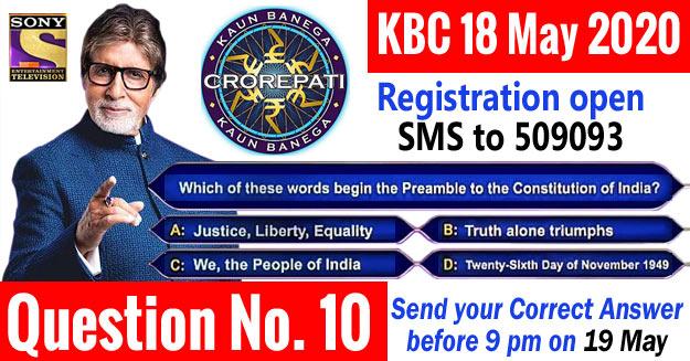 kbc 2020 registration question no 10