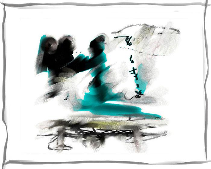 Ночное платье Дзигокудаю в белом свете разбитого зеркала