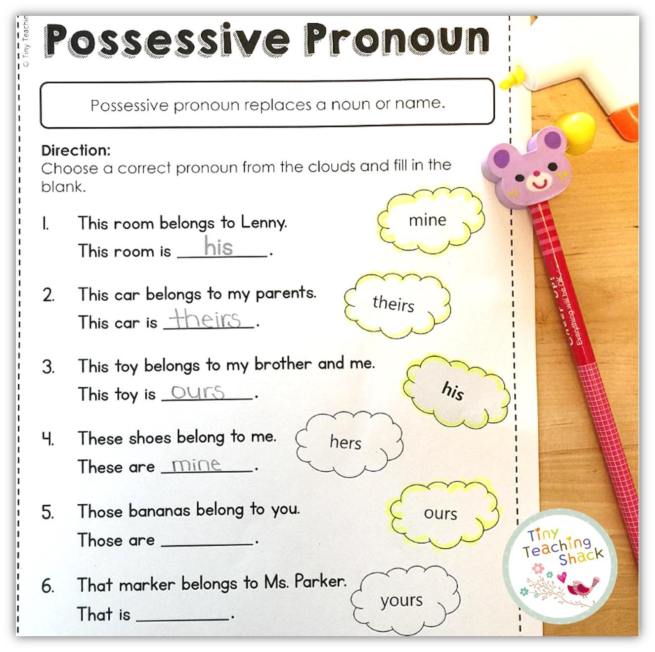 Tiny Teaching Shack Pronouns Personal Possessive Indefinite