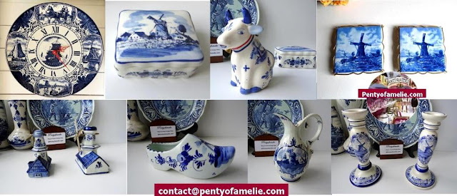 Dutch Vintage blue delft tiles, clock hands, cow milk jug,  jewel box, windmill, wine jug, Candle holders