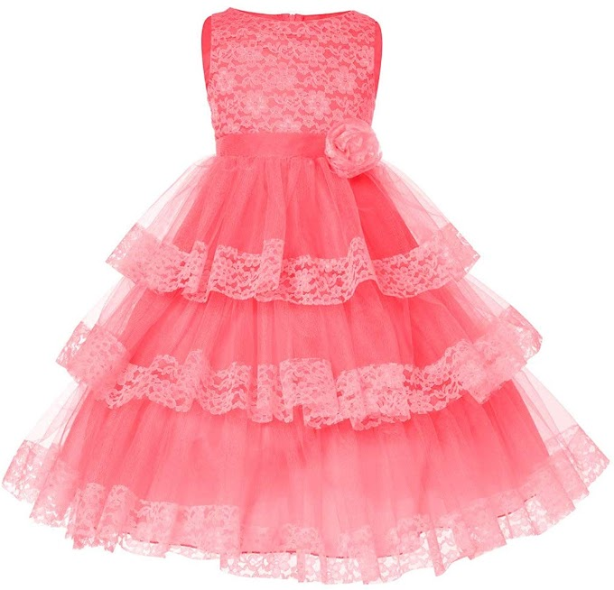 Sofyana Polyester Net Baby Girl's Long Dress_Coral_S_D_113_7-8Years