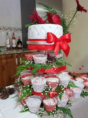 mesa dulce de boda en colores blanco y rojo