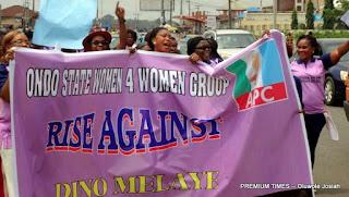 Ondo women protest Dino Melaye's verbal assault on Remi Tinubu