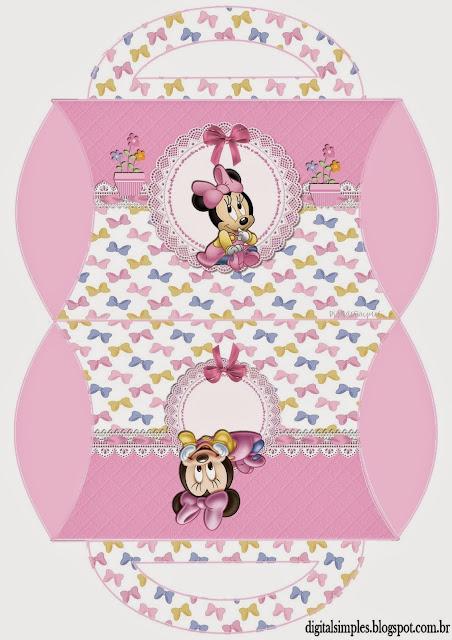 Cajas Almohada de Minnie Bebé  para Imprimir Gratis